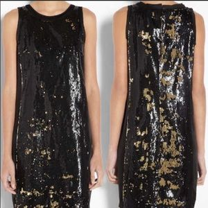 Michael Kors Black and Gold Sequin Holiday Dress